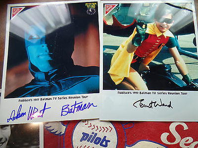 ADAM WEST BURT WARD autograph auto 1966 BATMAN & ROBIN SIGNED NABISCO 1997 8X10