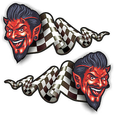 2er S Oldschool Aufkleber Devil Hell retro Sticker Flagge Tuning Racing USA V8