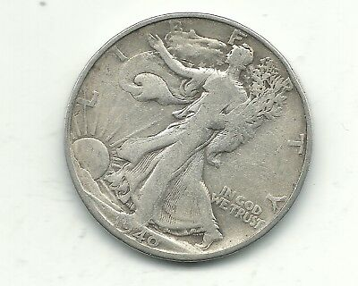 Vintage Very Nice 1940 S Liberty Walking Silver Half Dollar Coin-Jan197