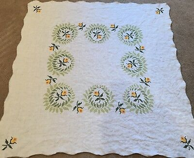Vintage Linen Tablecloth Topper Bridge Cloth Cross Stitch Embroidered Roses