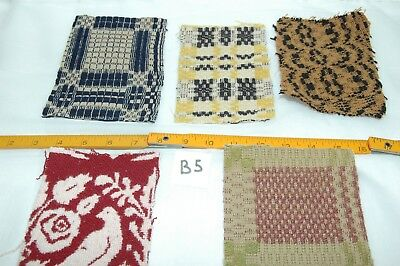 Antique Coverlet Pieces for Pillows Appliques Hearts Lot of 5  - B5