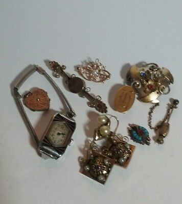 Vintage Victorian Antique Art Deco 10K Gold Brass Jewelry Lot Elgin Watch Pin +