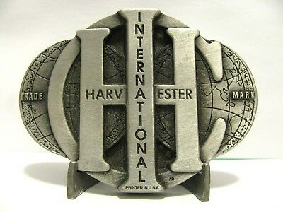 IH International Harvester Company IHC Globe Trademark Logo Pewter Belt Buckle