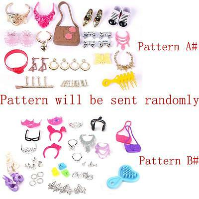 Necklace Earring Comb Shoes Crown Accessories Set For Barbie Doll baca