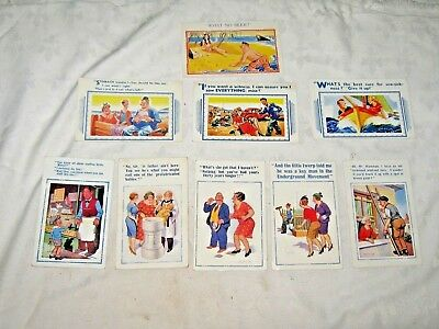Vintage Lot of 9 Ass't British Novelty Comic Humour D.McGill & Others Postcards