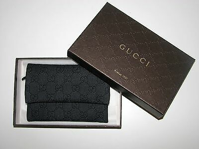 NIB AUTHENTIC GUCCI DENIM/LEATHER BLACK/GREY TRAVEL DOCUMENT CASE MADE- Italy