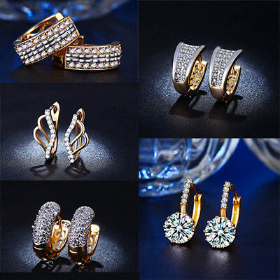 1 Pair Fashion Women Elegant Lady Gold Plated Rhinestone Crystal Hoop Earrings