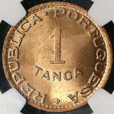1947 NGC MS 65 Red INDIA 1 Tanga Portugal Colony.Coin (16111721CZ)