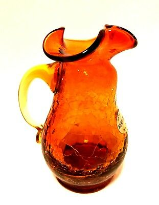 Heritage West Virginia Pitcher Small Hand Blown Crackle Glass 4.5 inches Tall