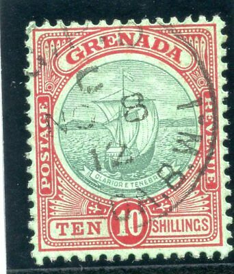f87d56491fac03 Grenada 1908 KEVII 10s green   red green very fine used. SG 83.