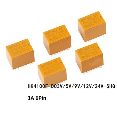 Mini Power Relays Yellow HK4100F-DC3V 5V 9V 12V 24V-SHG 4100 Relays 3A 6-Pin