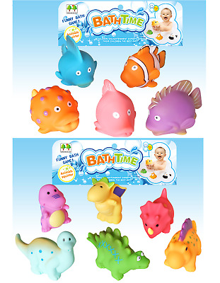 TWIN PACK 11 BATH TIME WATER SQUIRTERS  6 x DINOSAURS & 5 x FISH CHILDRENS TOYS