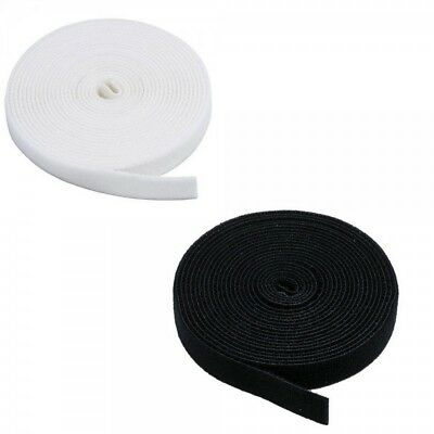 20mm or 25mm Self Adhesive Black or White Hook and Loop Tape Fastenings