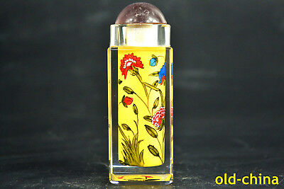 China Collectible Old Glass Handwork inside Painting flower square Snuff Bottle
