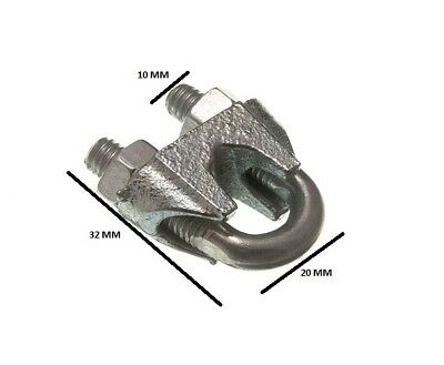 Wire Rope Clamp U Bolt Cable Grip 8mm 5/16 ZP  Pack Size 100