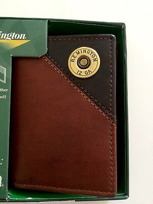 RFID Remington Men's Genuine Brown Trifold Wallet 2 tone Leather 12 Card Slots