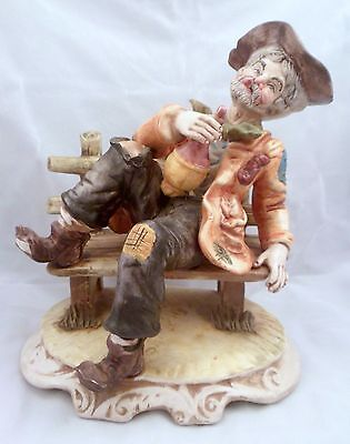 Rare Capodimonte Town Drunk Porcelain Figurine, Marked, Made in Italy