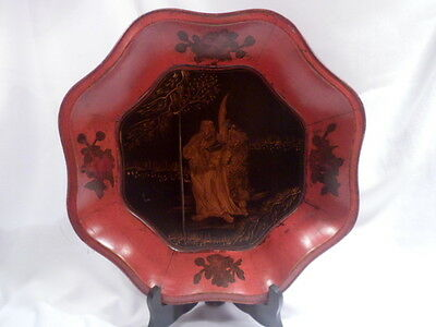 Chinese Octagonal Red Lacquered Wood Bowl, Kwan Te, Folate Rim, Appraised