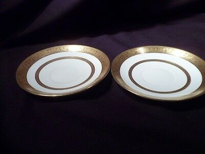 Pair Of Rare Shelley Saucers Marked Castle China-England With Green Mark #8579