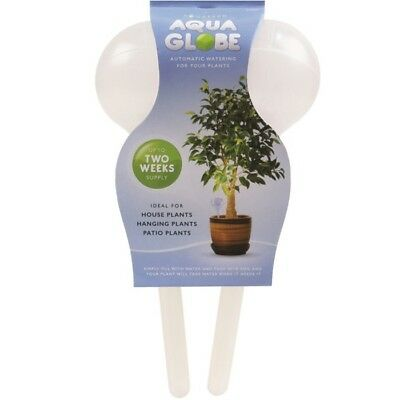 2 x Aqua Globes Plant Self Watering System Hanging Baskets Bulbs Feed Indoor Out