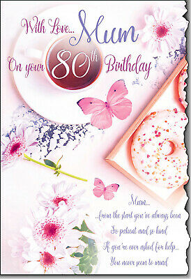 For A Lovely Mum 80th Birthday Card Lovely Verse 329 Picclick Uk