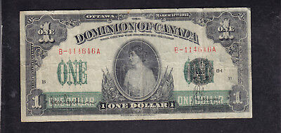 1917 Dominion Of Canada I Dollar Bank Note Seal Over One