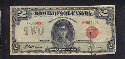 1923 Dominion Of Canada 2 Dollar Red Seal Bank Note