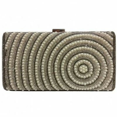Classic Womens Hard Case Clutch Bag Diamante Pearls Party Wedding Prom Events