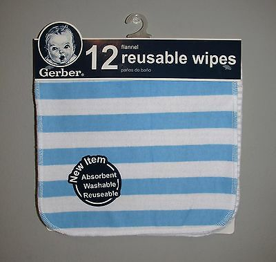 Gerber Baby Boys Reusable Flannel Wipes (12 PACK) BRAND NEW UNOPENED