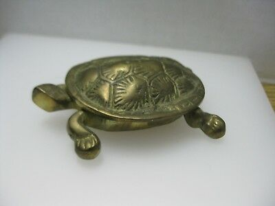 Brass Turtle Trinket Jewelry Box or Ashtray with Hinged Lid