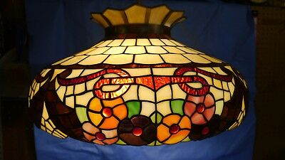 LARGE Antique Leaded & Jeweled Stained Glass Lamp FLORAL DESIGN Hanging Fixture