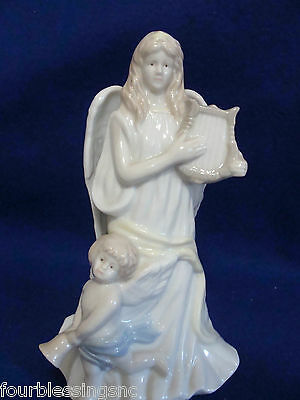 Angel With Lyre San Francisco Music Box-Joy To The World-High Gloss Porcelain
