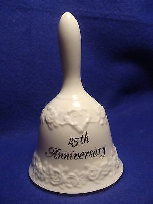 Porcelain Bell By Papel-25Th Anniversary-Silver Trim