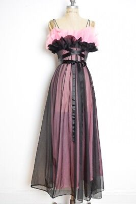 vintage 60s nightgown VANITY FAIR pink black chiffon ruffle gown lingerie S