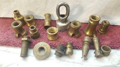 lot of vintage lamp parts ceiling hook spacers nipple brass and other