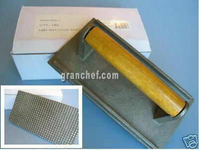 Grill Press- Commercial / Cast Iron With Wood Handle  - Large - New In Box!