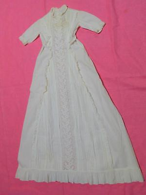 Antique White Baby Christening Gown Dress Ruffled Cotton Eyelet Lace X Long Doll