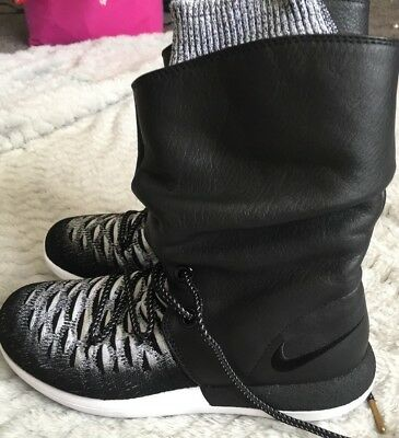 fc293d15c37b6 Nike Roshe Two Flyknit Hi Leather sneaker Boots Size 6 861708 002  225 New  nwob