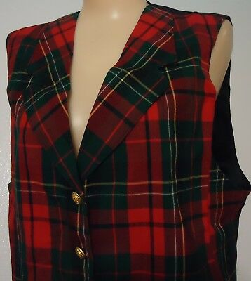 LN Red Green Black Tartan Plaid Pendleton Virgin Wool Vest Vtg 14 USA Made