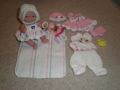 "Berenguer Baby 5"" New And New Hand Crochet Outfit Plus Extras"