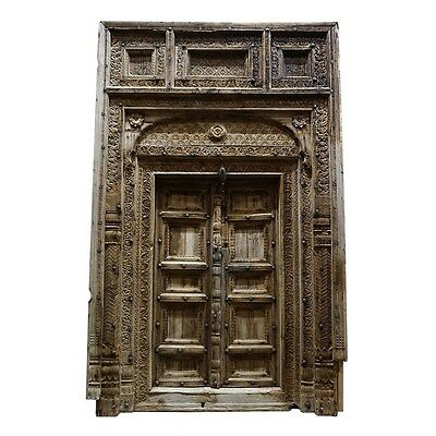 "120""Tall Magnificent Bhutan Carved Wood Door Antique Vintage Architectural Decor"