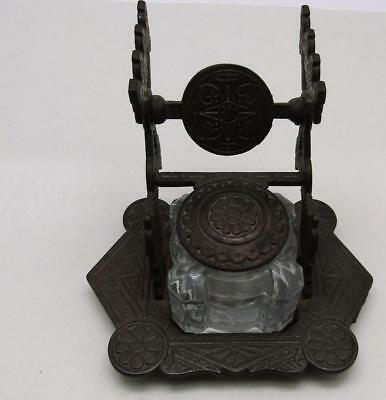 Dated 1879 Cast Iron Victorian Era Eastlake Style Glass Inkwell Pen Holder