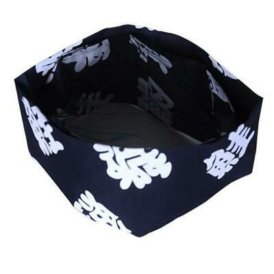 Size M Mesh Top Sushi Chef Skull Hat, Japanese Letters on dark blue, chef hats