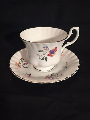 Royal Imperial Fine Bone China Footed Tea Cup & Saucer ENGLAND FLOWERS GOLD TRIM