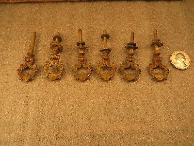 5 Matching Vintage Victorian Eastlake Ornate Brass Teardrop Drawer Pulls w/Screw