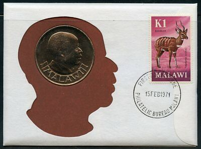MALAWI 1971 kwacha  COIN(THE  HIGHEST DENOMNATED) ON  COVER POSTMARKED 15FEB1971