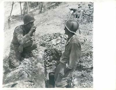 WWII U.S. Soldiers Brew Coffee in Tin Can in a Foxhole in Sicily Press Photo