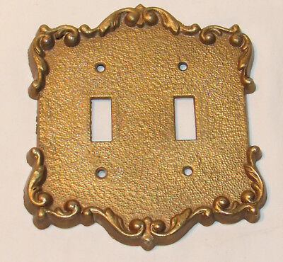 vintage Antiqued Brass double Toggle Victorian switch plate cover