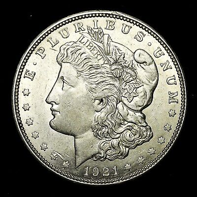 1921 D ~**ABOUT UNCIRCULATED AU**~ Silver Morgan Dollar Rare US Old Coin! #190