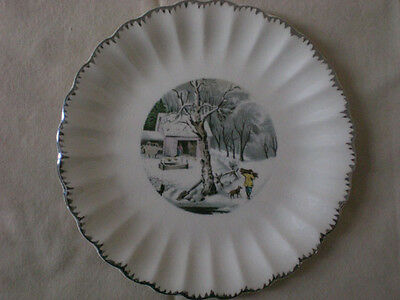 American Limoges Currier & Ives Semi-scalloped Dessert Plate Lot